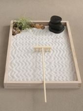 Zen gardens are miniature landscapes and often inspire meditation and contemplation. This Zen garden is inspired by the Yin Yang and has two imbedded succulents. Jardin Zen Miniature, Desktop Zen Garden, Stone Cairns, Deco Zen, Mini Zen Garden, Zen Sand Garden, Indoor Zen Garden, Beer Garden, Garden Plants