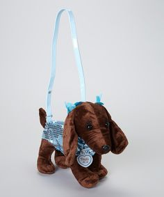Take a look at this Brown & Blue Sequin Dachshund Purse on zulily today!
