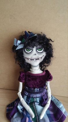 Goth Doll Little Ghoul Monster Doll Handmade OOAK Doll Ugly