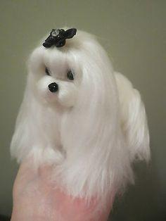 OOAK Needle Felted Artist Handmade Maltese Puppy Dog Wool Sculpture | eBay
