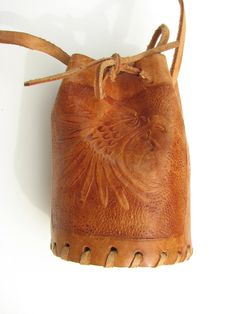 Tarascan Indian Leather Pouch with Warrior by ZouZouArmoire, $12.00