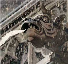 In architecture, a gargoyle is a carved stone grotesque with a spout designed to convey water from a roof and away from the side of a building. Preventing rainwater from running down masonry walls is important because running water erodes the mortar between the stone blocks.