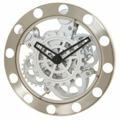 Kikkerland Gear Wall Clock, Nickel/White