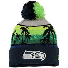 Men's New Era College Navy Seattle Seahawks Winter Beachin Cuffed Knit Hat