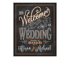 Printable Welcome to Our Wedding Chalkboard Sign Orange Wedding Chalk Prints with Names DIY Wedding Printables C1 WELC TANGERINE