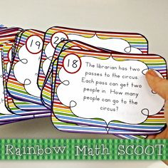 Scoot Over The Rainbow MultiStep MATH FREEBIE by Farrah Shipley Designs - This game includes multi-step math problems that include addition, subtraction and multiplication.