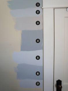 Shades of gray paint: Martha Steward Bedford Gray, Behr Dolphin Fin, . Shades Of Grey Paint, Blue Gray Paint Colors, Behr Paint Colors, Interior Paint Colors, Paint Colors For Home, Behr Gray Paint, Bluish Gray Paint, Neutral Paint, Interior Painting