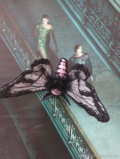 Купить Брошь Ночная бабочка - b001 - бабочка, брошь, черный, украшения ручной работы
