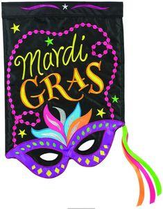 Mardi Gras Mask Double Applique Garden Flag