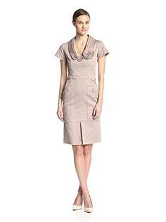 Valentino Women's Pocket Dress with Floral Trim (Beige)