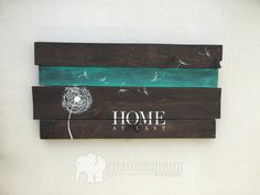 Pallet Art Dandelion Welcome Home Wall Hanging - Horizontal dark stain - Rustic Shabby Chic - Custom Colors