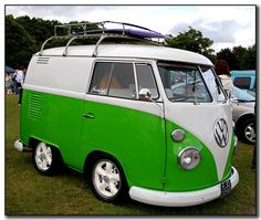 Squashed Green VW Van
