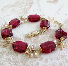 Red Ruby Bracelet, Gold Filled, Modern Swarovski Crystal Jewelry, Magenta Geometric Bracelet, July B Swarovski Crystal Earrings, Crystal Bracelets, Crystal Jewelry, Beaded Jewelry, Ruby Crystal, Gold Bracelets, Charm Bracelets, Bangles, Ruby Jewelry