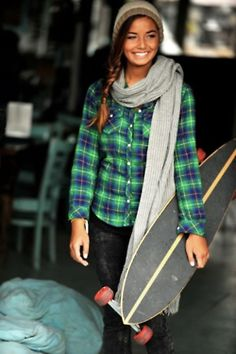 Lots to love here: plaid button down, winter hat best of all - longboard skateboard. Skates, Surf Style, Style Me, Hair Style, Tartan, Skate Girl, Fall Staples, Longboarding, Surf Girls