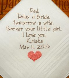Father of the Bride Personalized Wedding Hankerchiefs Handkerchiefs