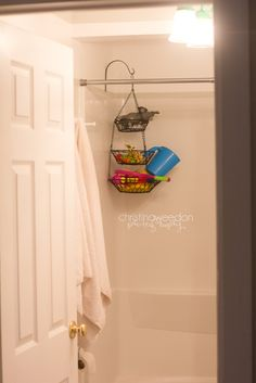 Great bath toy storage idea, since I can never get the suction cups to stick to my bath tub wall. Plant hook and kitchen fruit basket!