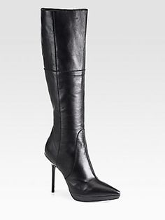 Burberry Hatton Leather Knee-High Boots