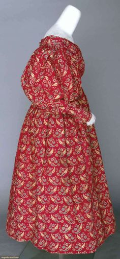 Augusta Auctions cotton roller print girls dress and pelerine 1830's