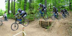 Using logs to build a jump in a mountainbike trail, with chicken run at the side