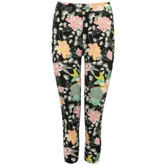 M&Co Floral Print Cropped Legging ($17) ❤ liked on Polyvore featuring pants, leggings, black, floral print leggings, floral trousers, floral crop pants, legging pants and floral leggings