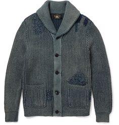 RRL - Indigo-Dyed Shawl-Collar Cotton Cardigan