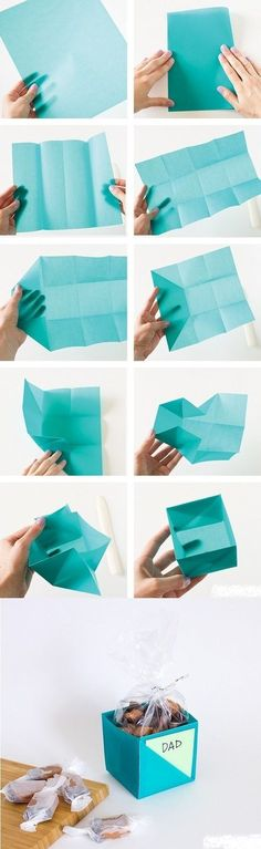 DIY simple gift box from paper. Images tutorial. A simple yet fantastic and unique way to give gifts. This origami gift box even has room for a little message to be slipped inside.
