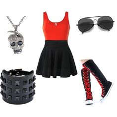 Black And Red by Hailey  on Polyvore featuring polyvore fashion style BKE Valentino Alexander McQueen