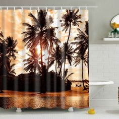 Palm Printed Polyester Waterproof Bath Shower Curtain - Brown L Bathroom Curtain Set, Diy Bathroom Decor, Bath Decor, Curtain Sets, Bathroom Ideas, Bathroom Inspiration, Cheap Shower Curtains, Shower Curtain Sizes, Hookless Shower Curtain