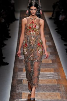 Valentino Fall 2012 runway show. Image from style.com. #fall fashion #valentino #embellishment