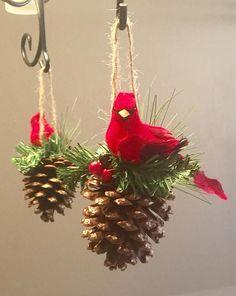 Cardinal on Pinecone Christmas Ornament