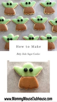 "An easy tutorial showing you how to make adorable Baby Yoda Sugar Cookies, also known as ""The Child"" from the Disney+ show, The Mandalorian. Star Wars Cookies, Star Wars Cake, Star Wars Birthday Cake, Star Wars Cupcakes, Star Wars Party Food, Star Wars Food, Disney Desserts, Disney Food Recipes, Star Wars Christmas"