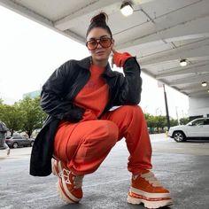 Vanessa Hudgens Style, Orange Sneakers, Happy Fall Y'all, Celebs, Celebrities, American Singers, Parachute Pants, Bomber Jacket, Leather Jacket