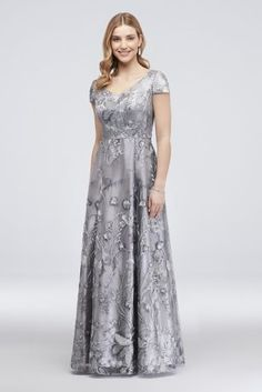 A scattering of mini sequins adds understated sparkle to this beautiful floral-embroidered ball gown. Finished with a satin-piped waist. By Alex Evenings Nylon Back zipper; Formal Dresses With Sleeves, Mob Dresses, Necklines For Dresses, Petite Dresses, Bridesmaid Dresses, Mother Of The Bride Dresses Long, Mothers Dresses, Davids Bridal, Ball Gowns