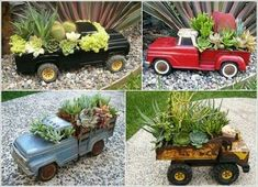 Super cute mini gardens! Now just to find the old fashioned trucks :)