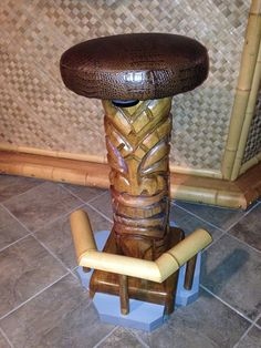 "Let's Talk Tiki 30"" Wood Carved Bar Stool"