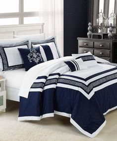 Blue bed sheets queen dark blue bed set blue bed sets decoration and white bedding solid Blue And White Comforter, Blue Comforter Sets, Brown Bedding, Purple Comforter, Orange Bedding, Black Bedding, Cozy Bedroom, White Bedroom, Bedroom Decor