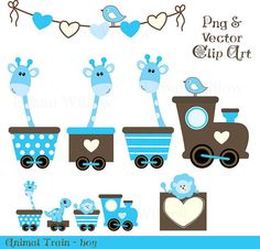 ANIMAL TRAIN boy 15 piece clip art and by LittlePumpkinsPix