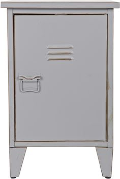 Buy the Max Metal Locker Bedside Table in Grey by Woood today! FREE Delivery and a Price Match Guarantee. Small Lockers, Metal Lockers, Small Furniture, Luxury Furniture, Children Furniture, Bedside Table Design, Bedside Tables, Storing Books, Cabinet Design