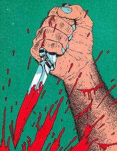 knife stab blood comic graphic design