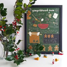 Illustrated recipe art print | Gingerbread men | Illustrated food | Kitchen art by PaulinaEatsAndDraws on Etsy https://www.etsy.com/listing/498741703/illustrated-recipe-art-print-gingerbread
