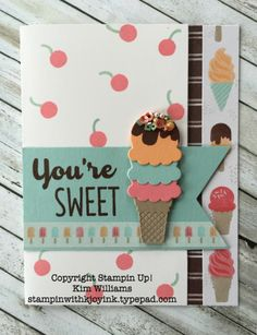 Bonus Card- Cool Treats - Stampin With Kjoyink Birthday Scrapbook, Kids Birthday Cards, Stampin Up Catalog, Stamping Up Cards, Marianne Design, Paper Cards, Kids Cards, Creative Cards, Ideas