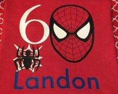 Camiseta de cumpleaños de Spiderman por BowFlopsBowsandMore en Etsy