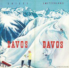 davos switzerland ski vintage brochure travel