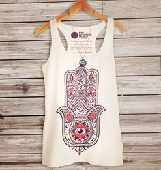 to ] Great to own a Ray-Ban sunglasses as summer gift.HAMSA woman tank top hand of fatima spiritual new age yoga zen spirit tshirt shirt tee 2013 S M L XL New Age, Yoga Fashion, Fashion Women, Hand Der Fatima, Spiritual Clothing, Hippie Clothing, Buddha Meditation, Festival Outfits, Summer Looks
