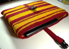 Laptop Sleeve Gryffindor Harry Potter (14-inch, 15-inch crochet computer sock with buckle). $25.00, via Etsy.
