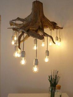 Rustic Lamps, Wood Lamps, Rustic Lighting, Lighting Ideas, Wooden Chandelier, Round Chandelier, Driftwood Lamp, Rustic Kitchen Design, Ceiling Lamp