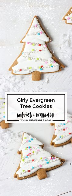Girly evergreen trees made with Martha by Mail evergreen tree cookie cutter. Gingerbread cutout cookies, royal icing, sugar sequins & edible stars! via /whiskwander/