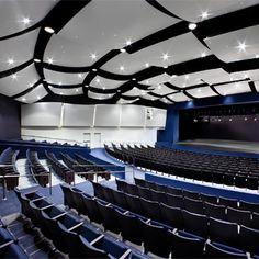 Newport Harbor High School Theater - Newport Beach, CA University Interior Design, Church Interior Design, Church Stage Design, School Building Design, School Design, Newport Harbor, Newport Beach, Auditorium Design, Dream School