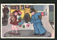 carte postale ancienne: CPA Illustrateur Margret Boriss: Polizist hilf der Frau