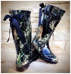 Black Camo Rain Boots with Custom Bows by PuddlesNRainBows on Etsy, $88.00 #Camo #CountryGirl #CountryLife